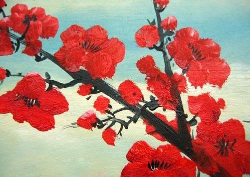 Peinture A L Huile Fleurs De Cerisier Rouge Element Bois