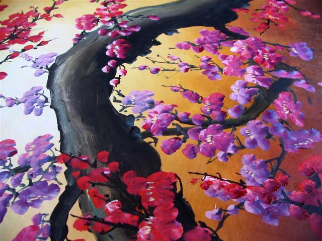 peinture l 39 huile fleurs de cerisier peintures fleurs. Black Bedroom Furniture Sets. Home Design Ideas