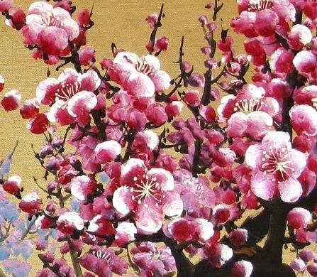 peinture l 39 huile fleurs de cerisier or peintures fleurs. Black Bedroom Furniture Sets. Home Design Ideas