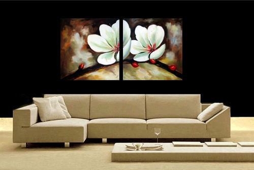 peinture l 39 huile fleurs d orchid e blanche peintures. Black Bedroom Furniture Sets. Home Design Ideas