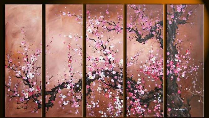 peinture l 39 huile fleurs de cerisier rose peintures fleurs. Black Bedroom Furniture Sets. Home Design Ideas