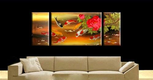 Peinture à Lhuile Poissons Carpes Jaune Peintures Poissons