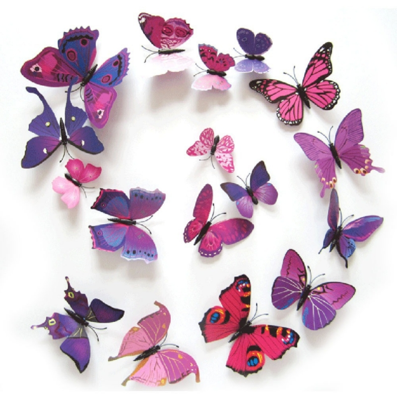 butterfly paper bracelets for kids stickers 12 papillons violets 3d stickers muraux 5972