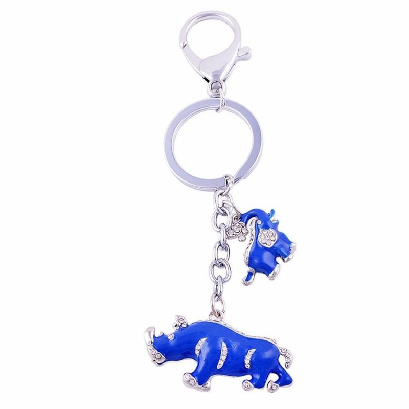 Porte Clés Eléphant et Rhinocéros bleu -