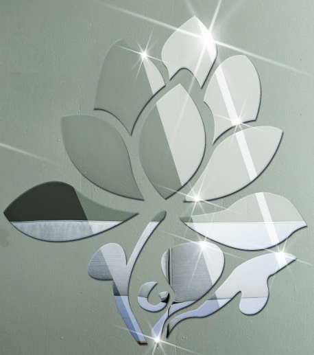 Sticker miroirs fleur de lotus miroirs d cos for Stickers miroir
