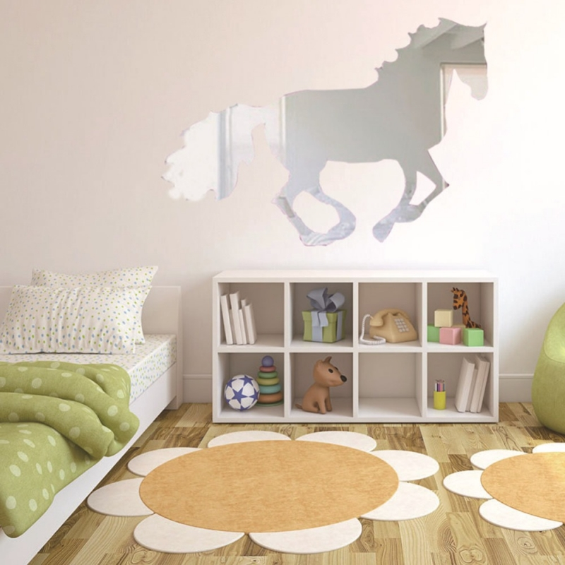 sticker miroir cheval au galop stickers muraux. Black Bedroom Furniture Sets. Home Design Ideas