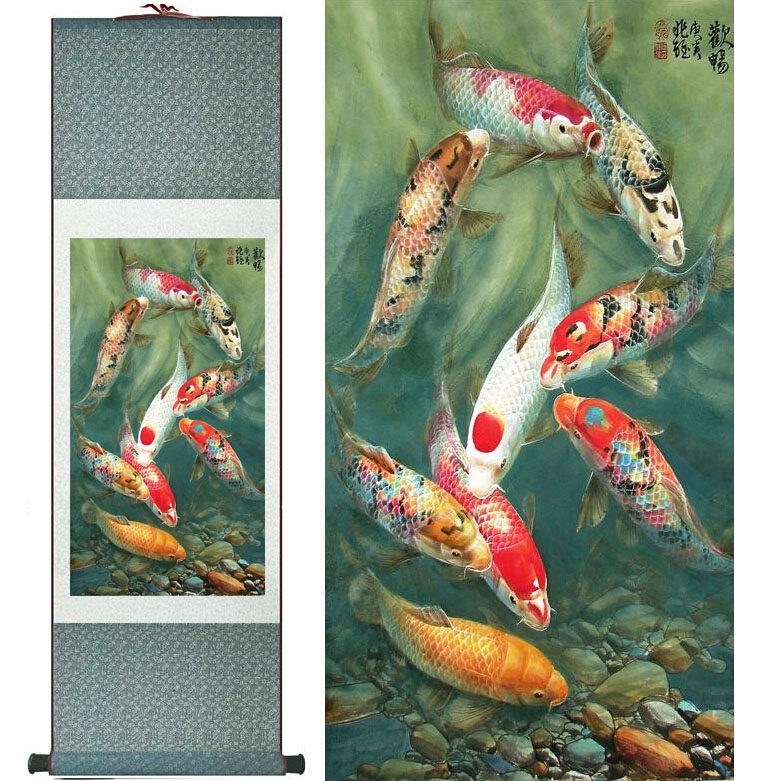 kakemono poissons carpes koi vert kakemonos. Black Bedroom Furniture Sets. Home Design Ideas