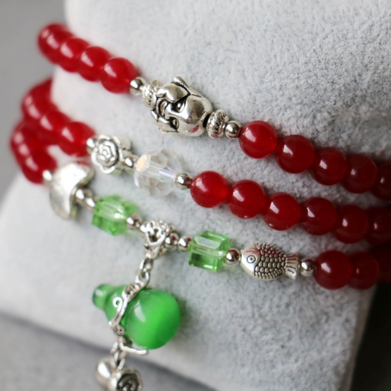 Bracelet Wu Lou Et Bouddha En Jade Rouge