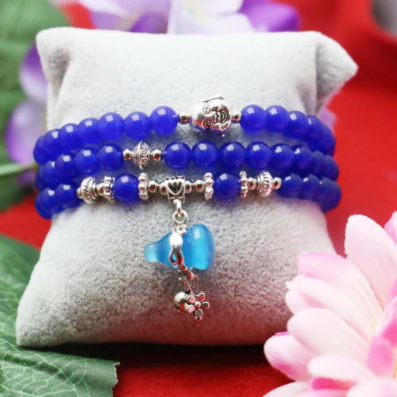 Bracelet Wu Lou Et Bouddha En Calcédoine