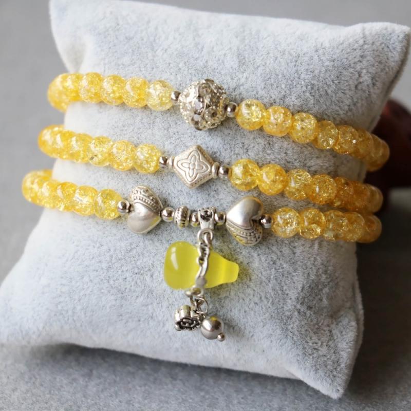 Bracelet Wu Lou Et Bouddha En Cristal Jaune