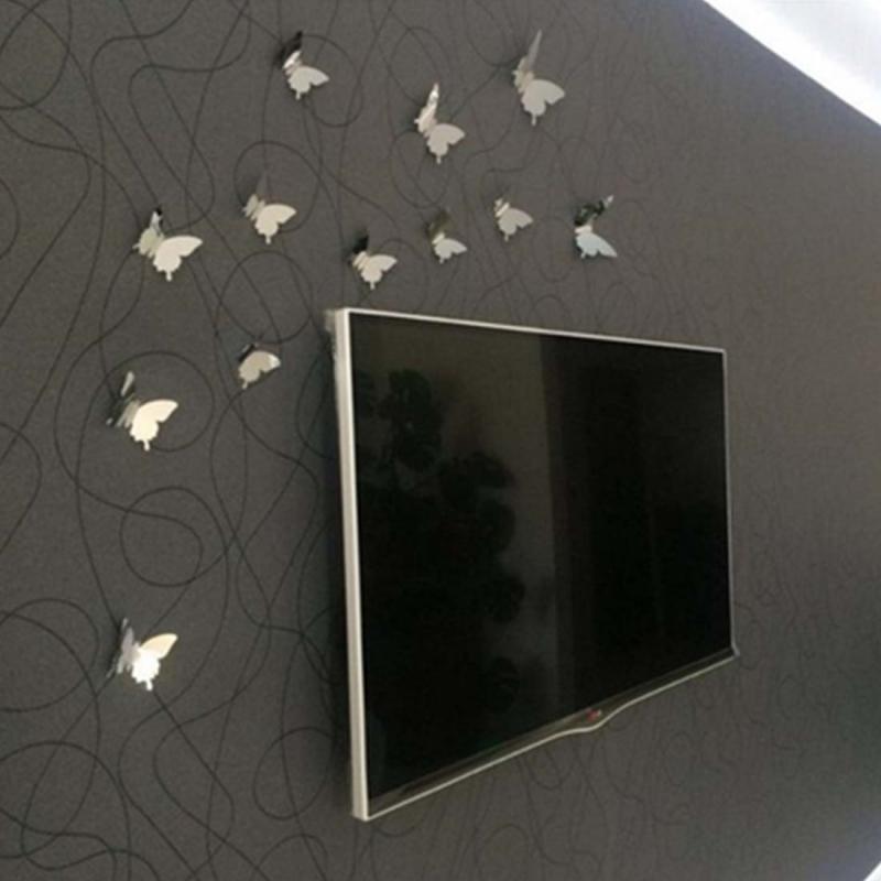 stickers 12 miroirs papillons 3d miroirs d cos. Black Bedroom Furniture Sets. Home Design Ideas