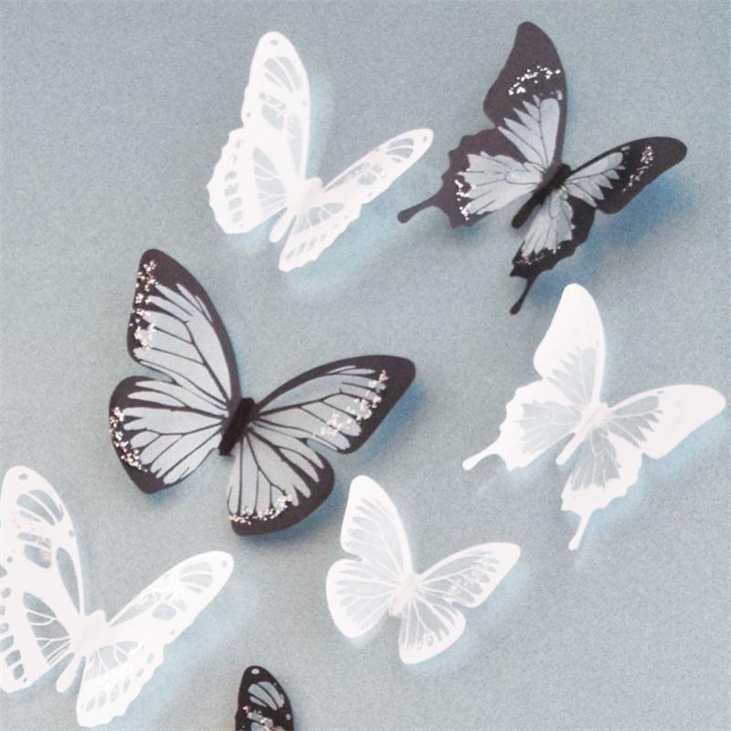 Stickers 17 papillons noir et blanc 3d stickers muraux - Stickers muraux noir et blanc ...