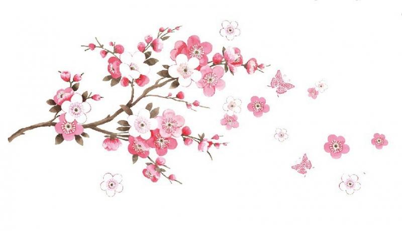 Merveilleux branche fleur de cerisier 4 stickers d co branche cerisier japonais stickers - Cerisier en fleur dessin ...